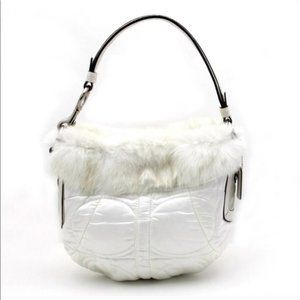Coach 3586 Quilted Winter White Fur Trim Hobo Bag